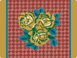 PLACEMAT 30x40cm THREE FLOWER CHECKS GOLD with cork