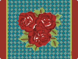PLACEMAT 30x40cm THREE FLOWER CHECKS RED with cork
