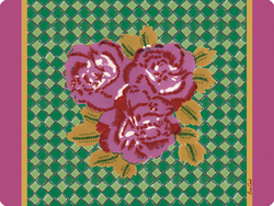 PLACEMAT 30x40cm THREE FLOWER CHECKS PINK with cork