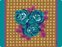 PLACEMAT 30x40cm THREE FLOWER CHECKS VERONESE with cork