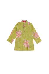 KURTA--KITOSAN FLOWER PARROT GREEN