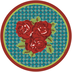 PLACEMAT THREE FLOWER CHECKS RED diam. 34 cm with cork