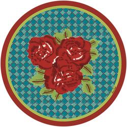 PLACEMAT THREE FLOWER CHECKS RED diam. 39cm with cork