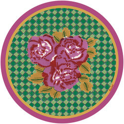 PLACEMAT THREE FLOWER CHECKS PINK diam. 39cm with cork