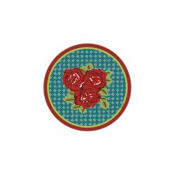 BEVERAGE COASTER THREE FLOWER CHECKS RED DIAMETER 9,5cm