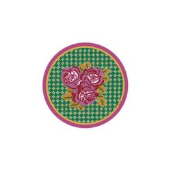 BEVERAGE COASTER THREE FLOWER CHECKS PINK DIAMETER 9,5cm