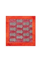 SILK POCKET SQUARE--TIGER RED