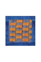 SILK POCKET SQUARE--TIGER GREY BLUE