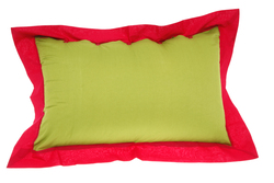 PILLOW COVER 50x80cm LEAVES GREEN RED
