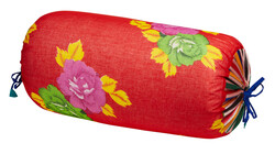 ORGANZA PALOMA BOLSTER COVER--BIG FLOWER RED