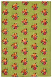 FABRIC--DAMASK FLOWER ACID GREEN