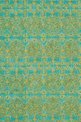 FABRIC--DAMASK DESIGN TURQUOISE GREEN