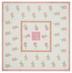 ORGANDY TABLECLOTH 180X180cm--ACANTO ROSE WHITE